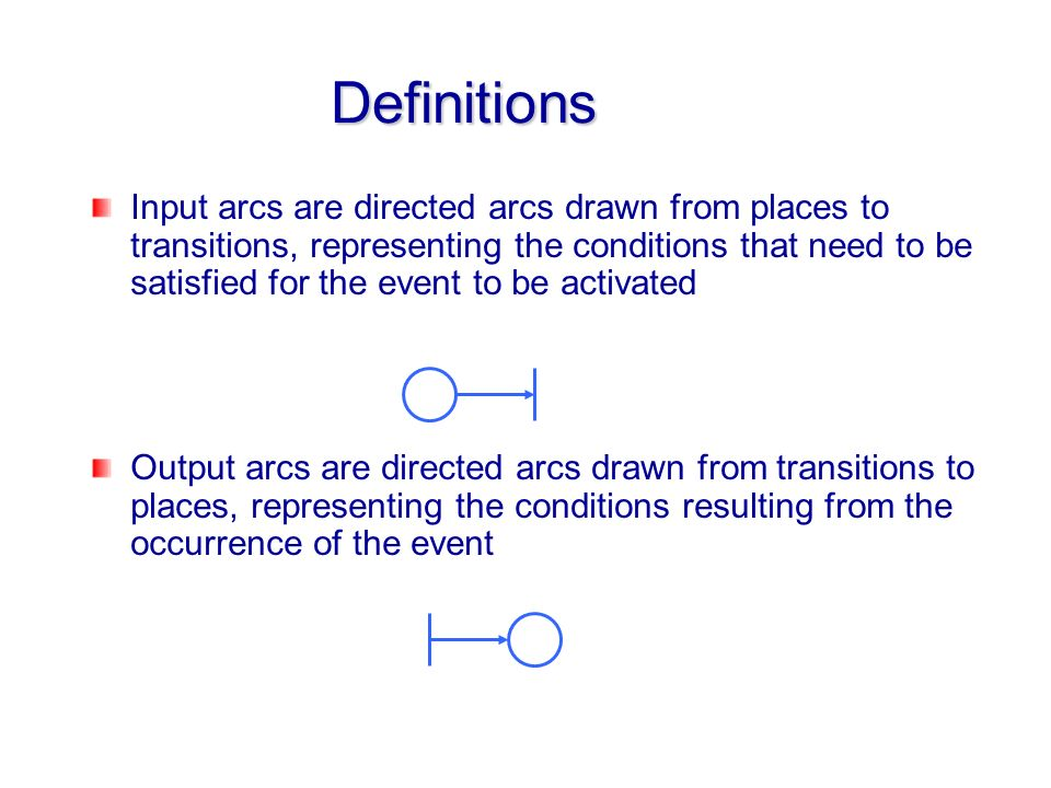 Definitions Input arcs are directed arcs drawn from places to transitions, representing the conditions that need to be satisfied for the event to be a