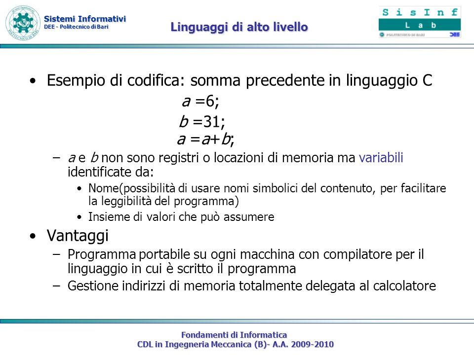 Sistemi Informativi DEE - Politecnico di Bari Fondamenti di Informatica CDL in Ingegneria Meccanica (B)- A.A. 2009-2010 Linguaggi di alto livello Esem