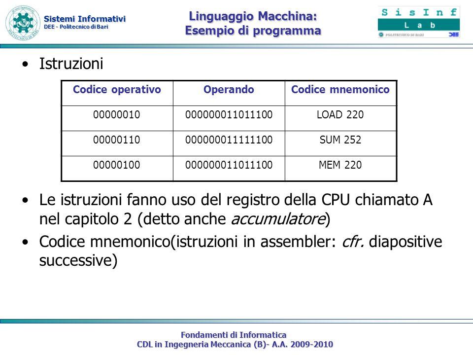 Sistemi Informativi DEE - Politecnico di Bari Fondamenti di Informatica CDL in Ingegneria Meccanica (B)- A.A. 2009-2010 Istruzioni Le istruzioni fanno