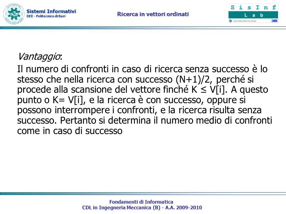 Sistemi Informativi DEE - Politecnico di Bari Fondamenti di Informatica CDL in Ingegneria Meccanica (B) - A.A. 2009-2010 Ricerca in vettori ordinati V