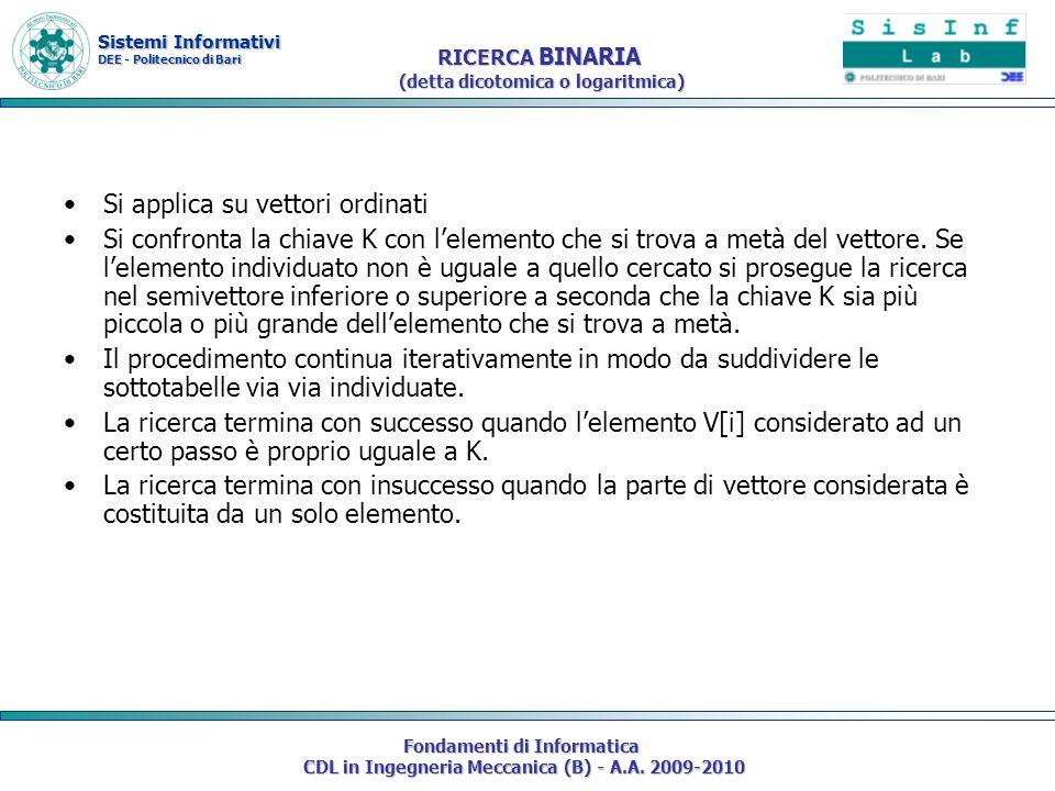Sistemi Informativi DEE - Politecnico di Bari Fondamenti di Informatica CDL in Ingegneria Meccanica (B) - A.A. 2009-2010 RICERCA BINARIA (detta dicoto