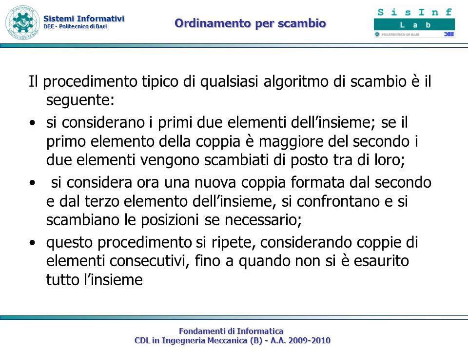 Sistemi Informativi DEE - Politecnico di Bari Fondamenti di Informatica CDL in Ingegneria Meccanica (B) - A.A. 2009-2010 Ordinamento per scambio Il pr