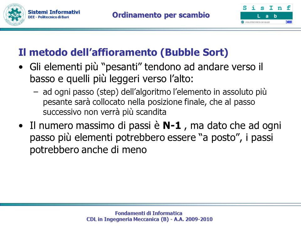 Sistemi Informativi DEE - Politecnico di Bari Fondamenti di Informatica CDL in Ingegneria Meccanica (B) - A.A. 2009-2010 Ordinamento per scambio Il me