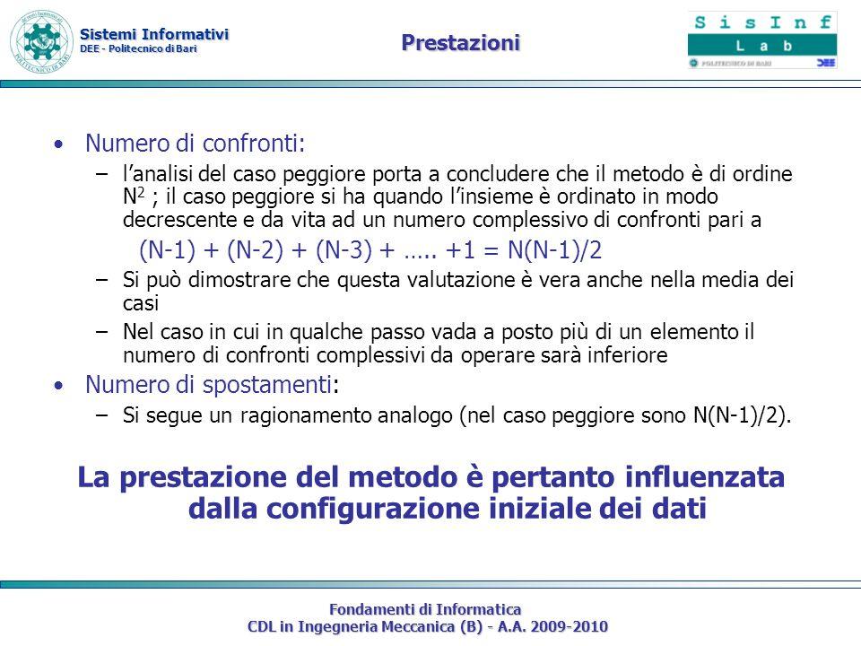 Sistemi Informativi DEE - Politecnico di Bari Fondamenti di Informatica CDL in Ingegneria Meccanica (B) - A.A. 2009-2010 Prestazioni Numero di confron