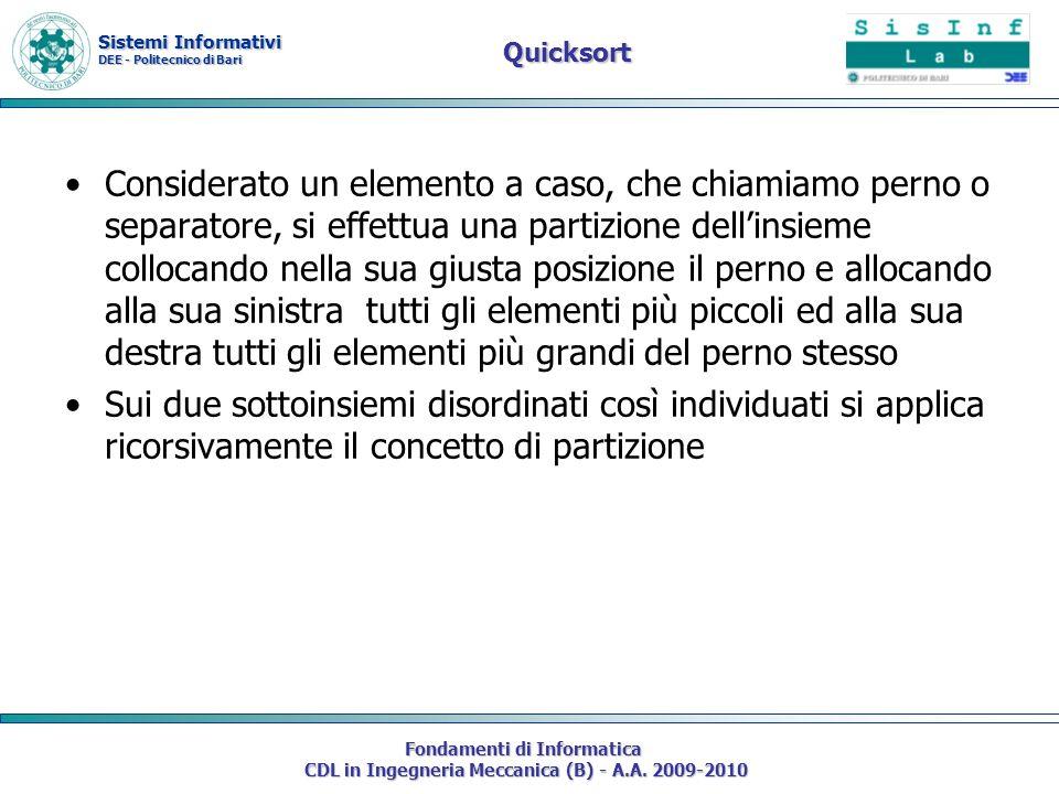 Sistemi Informativi DEE - Politecnico di Bari Fondamenti di Informatica CDL in Ingegneria Meccanica (B) - A.A. 2009-2010 Quicksort Considerato un elem