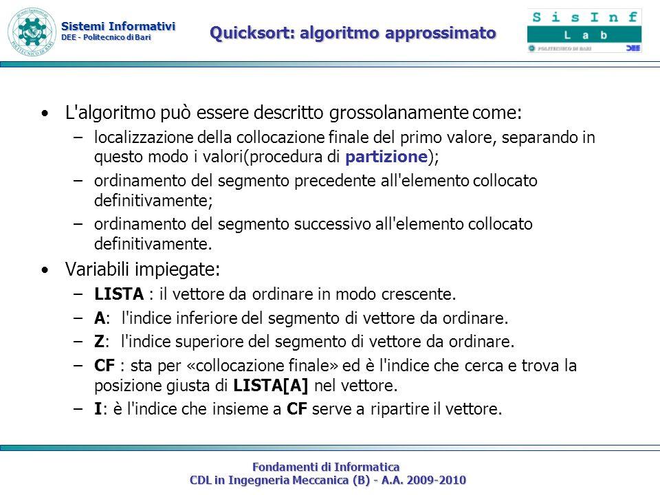 Sistemi Informativi DEE - Politecnico di Bari Fondamenti di Informatica CDL in Ingegneria Meccanica (B) - A.A. 2009-2010 Quicksort: algoritmo approssi