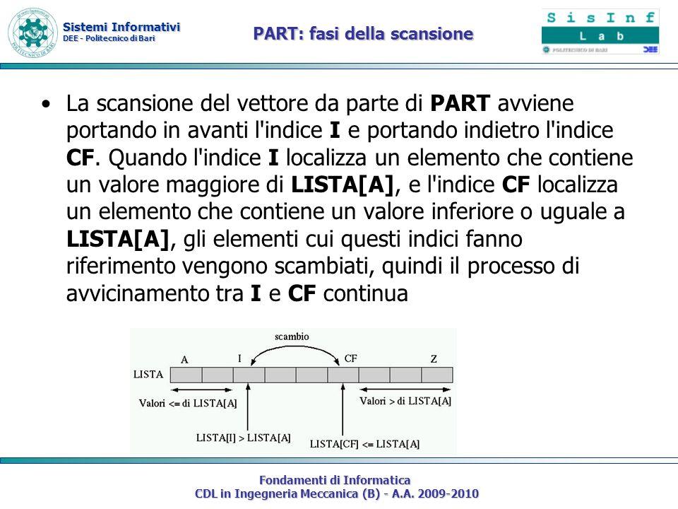 Sistemi Informativi DEE - Politecnico di Bari Fondamenti di Informatica CDL in Ingegneria Meccanica (B) - A.A. 2009-2010 PART: fasi della scansione La
