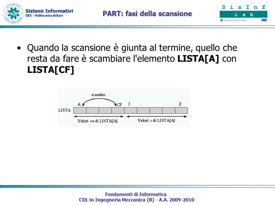 Sistemi Informativi DEE - Politecnico di Bari Fondamenti di Informatica CDL in Ingegneria Meccanica (B) - A.A. 2009-2010 Quando la scansione è giunta