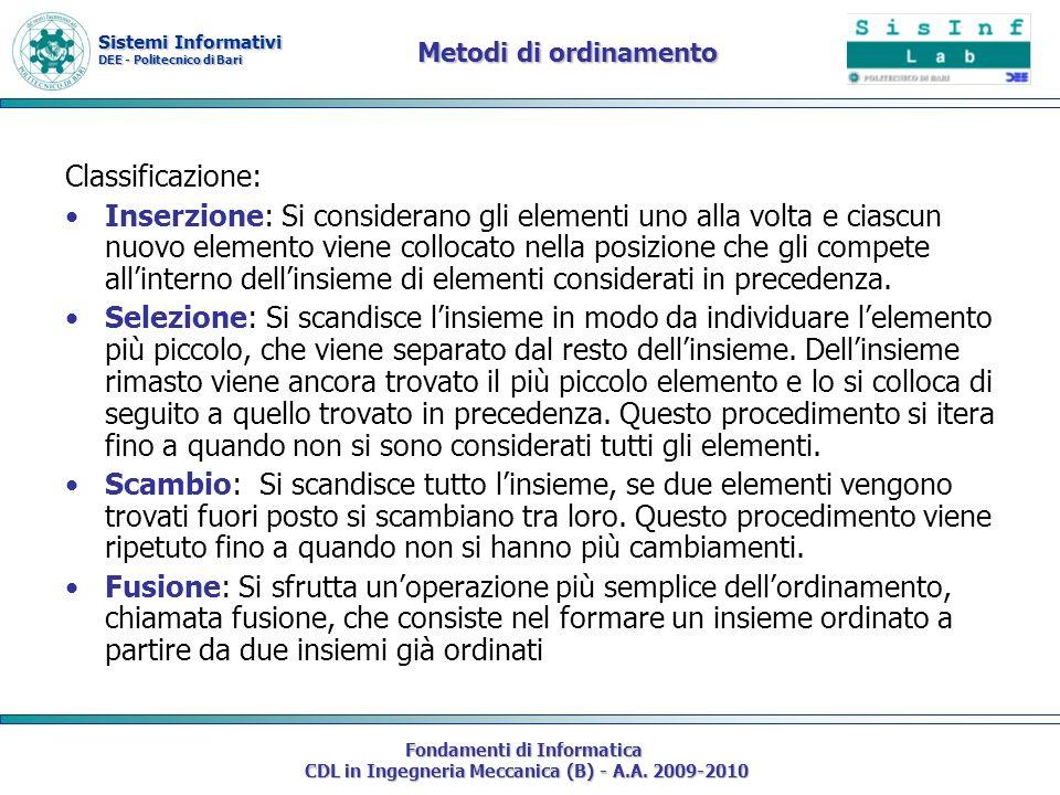 Sistemi Informativi DEE - Politecnico di Bari Fondamenti di Informatica CDL in Ingegneria Meccanica (B) - A.A. 2009-2010 Metodi di ordinamento Classif