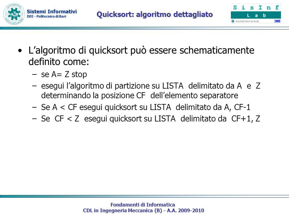 Sistemi Informativi DEE - Politecnico di Bari Fondamenti di Informatica CDL in Ingegneria Meccanica (B) - A.A. 2009-2010 Quicksort: algoritmo dettagli