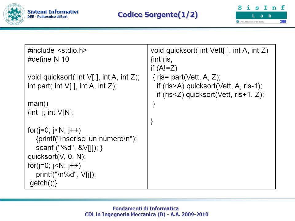 Sistemi Informativi DEE - Politecnico di Bari Fondamenti di Informatica CDL in Ingegneria Meccanica (B) - A.A. 2009-2010 Codice Sorgente(1/2) #include