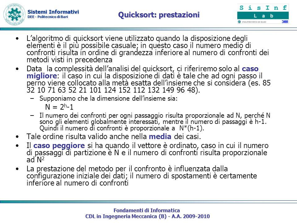 Sistemi Informativi DEE - Politecnico di Bari Fondamenti di Informatica CDL in Ingegneria Meccanica (B) - A.A. 2009-2010 Quicksort: prestazioni Lalgor