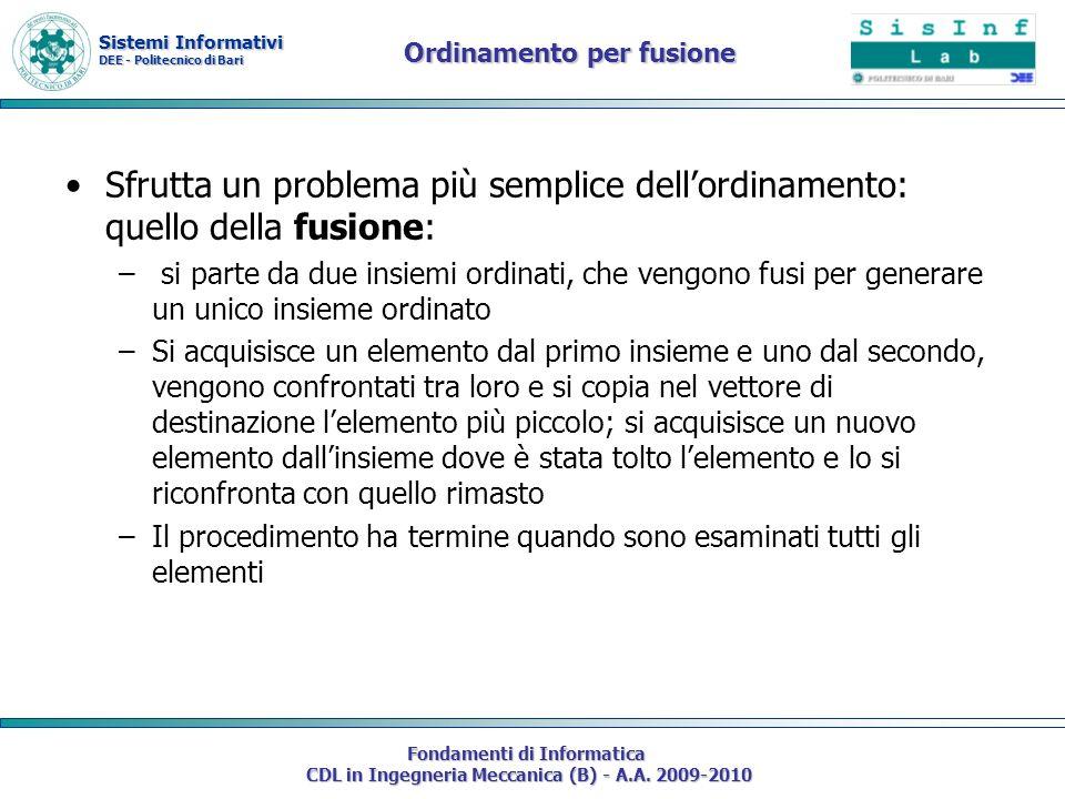 Sistemi Informativi DEE - Politecnico di Bari Fondamenti di Informatica CDL in Ingegneria Meccanica (B) - A.A. 2009-2010 Ordinamento per fusione Sfrut