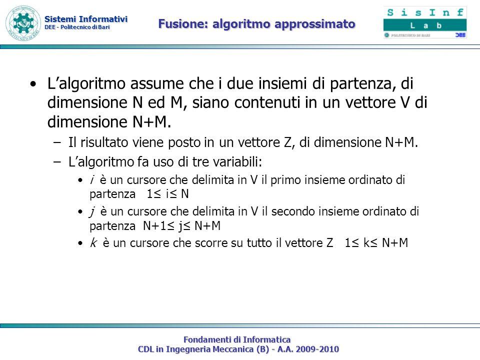 Sistemi Informativi DEE - Politecnico di Bari Fondamenti di Informatica CDL in Ingegneria Meccanica (B) - A.A. 2009-2010 Fusione: algoritmo approssima