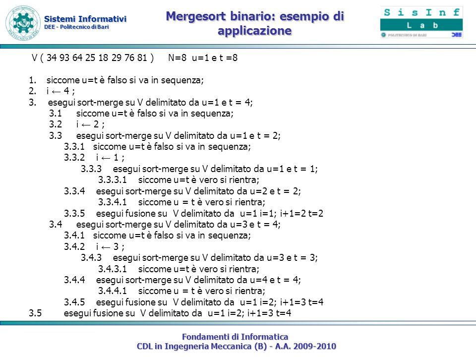 Sistemi Informativi DEE - Politecnico di Bari Fondamenti di Informatica CDL in Ingegneria Meccanica (B) - A.A. 2009-2010 Mergesort binario: esempio di