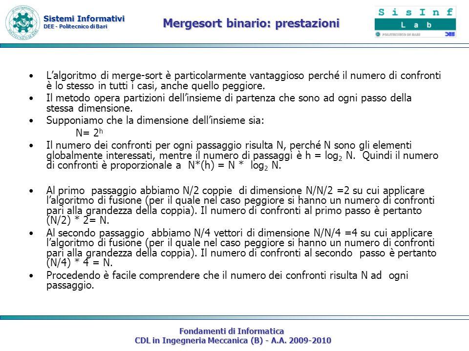 Sistemi Informativi DEE - Politecnico di Bari Fondamenti di Informatica CDL in Ingegneria Meccanica (B) - A.A. 2009-2010 Mergesort binario: prestazion