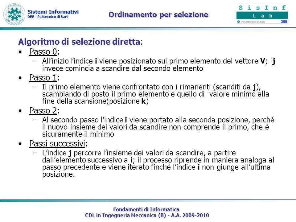 Sistemi Informativi DEE - Politecnico di Bari Fondamenti di Informatica CDL in Ingegneria Meccanica (B) - A.A. 2009-2010 Ordinamento per selezione Alg