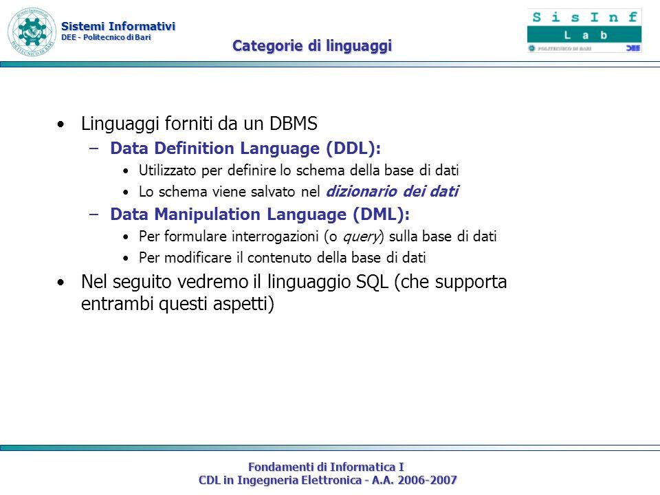 Sistemi Informativi DEE - Politecnico di Bari Fondamenti di Informatica I CDL in Ingegneria Elettronica - A.A. 2006-2007 Categorie di linguaggi Lingua