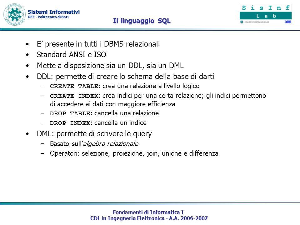 Sistemi Informativi DEE - Politecnico di Bari Fondamenti di Informatica I CDL in Ingegneria Elettronica - A.A. 2006-2007 Il linguaggio SQL E presente