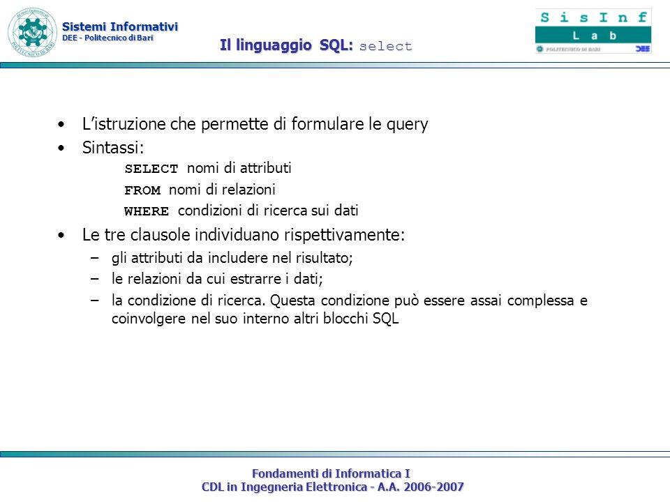 Sistemi Informativi DEE - Politecnico di Bari Fondamenti di Informatica I CDL in Ingegneria Elettronica - A.A. 2006-2007 Il linguaggio SQL: select Lis