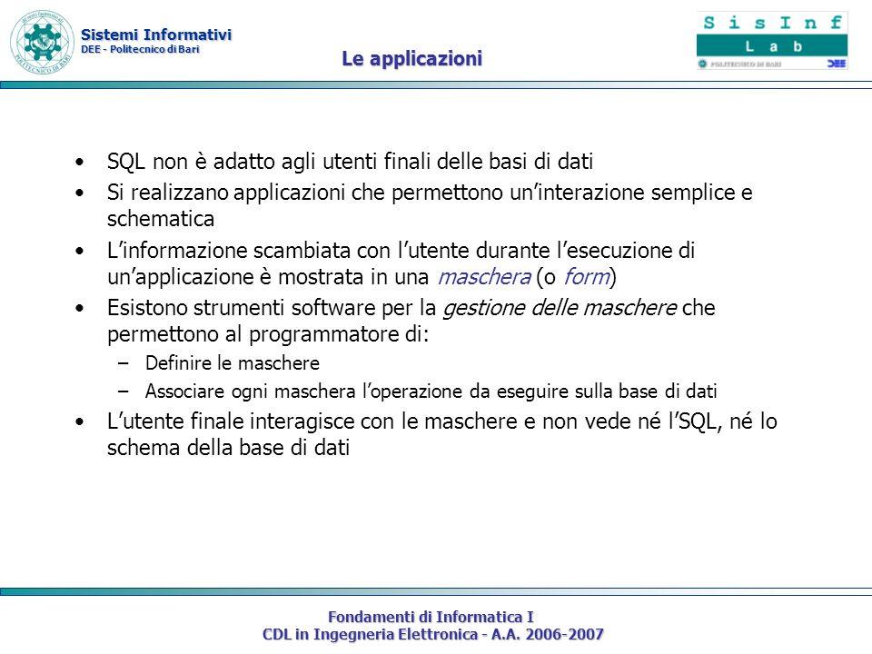 Sistemi Informativi DEE - Politecnico di Bari Fondamenti di Informatica I CDL in Ingegneria Elettronica - A.A. 2006-2007 Le applicazioni SQL non è ada