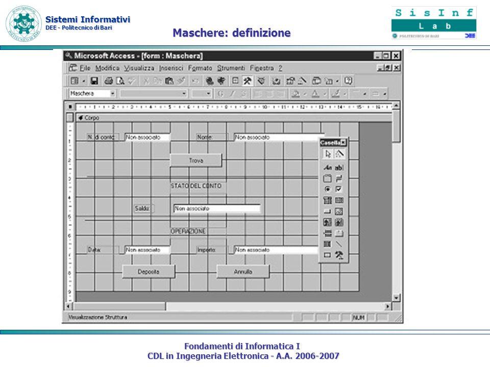 Sistemi Informativi DEE - Politecnico di Bari Fondamenti di Informatica I CDL in Ingegneria Elettronica - A.A. 2006-2007 Maschere: definizione