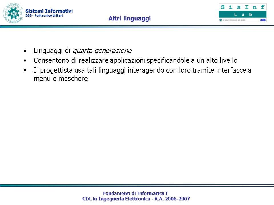Sistemi Informativi DEE - Politecnico di Bari Fondamenti di Informatica I CDL in Ingegneria Elettronica - A.A. 2006-2007 Altri linguaggi Linguaggi di