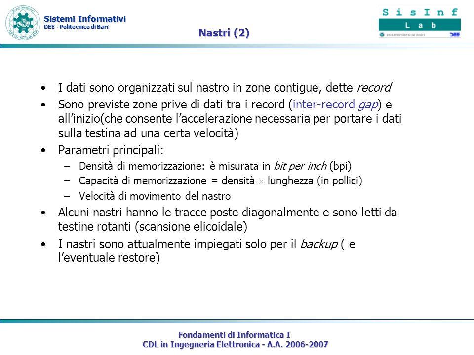 Sistemi Informativi DEE - Politecnico di Bari Fondamenti di Informatica I CDL in Ingegneria Elettronica - A.A. 2006-2007 Nastri (2) I dati sono organi
