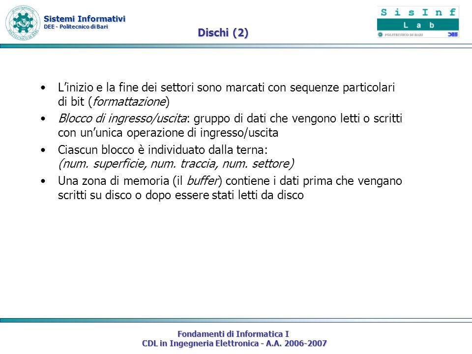 Sistemi Informativi DEE - Politecnico di Bari Fondamenti di Informatica I CDL in Ingegneria Elettronica - A.A. 2006-2007 Dischi (2) Linizio e la fine