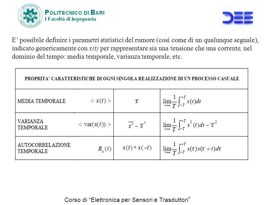 Corso di Elettronica per Sensori e Trasduttori E possibile definire i parametri statistici del rumore (così come di un qualunque segnale), indicato ge