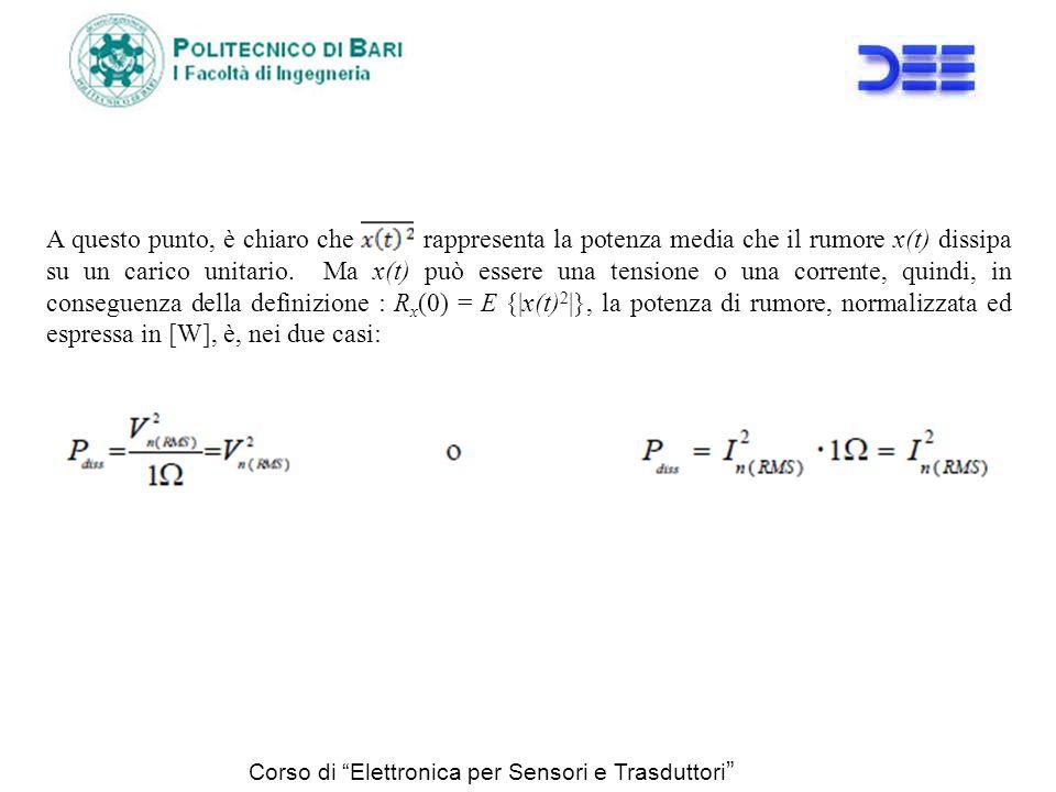 Corso di Elettronica per Sensori e Trasduttori A questo punto, è chiaro che rappresenta la potenza media che il rumore x(t) dissipa su un carico unita
