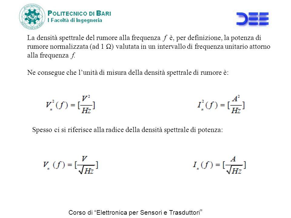 Corso di Elettronica per Sensori e Trasduttori La densità spettrale del rumore alla frequenza f è, per definizione, la potenza di rumore normalizzata
