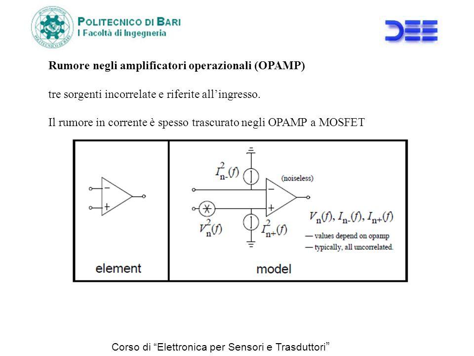 Corso di Elettronica per Sensori e Trasduttori Rumore negli amplificatori operazionali (OPAMP) tre sorgenti incorrelate e riferite allingresso. Il rum