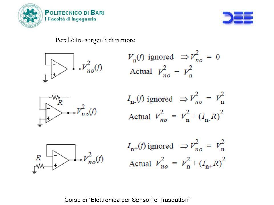 Corso di Elettronica per Sensori e Trasduttori Perché tre sorgenti di rumore