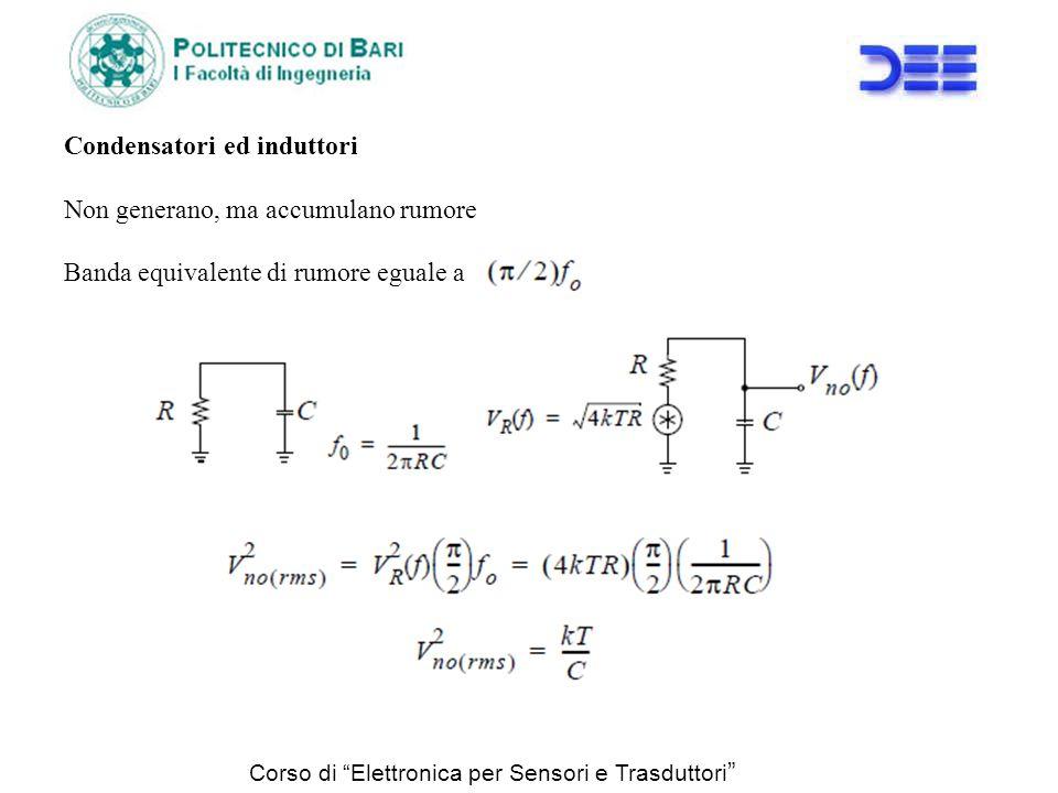Corso di Elettronica per Sensori e Trasduttori Condensatori ed induttori Non generano, ma accumulano rumore Banda equivalente di rumore eguale a