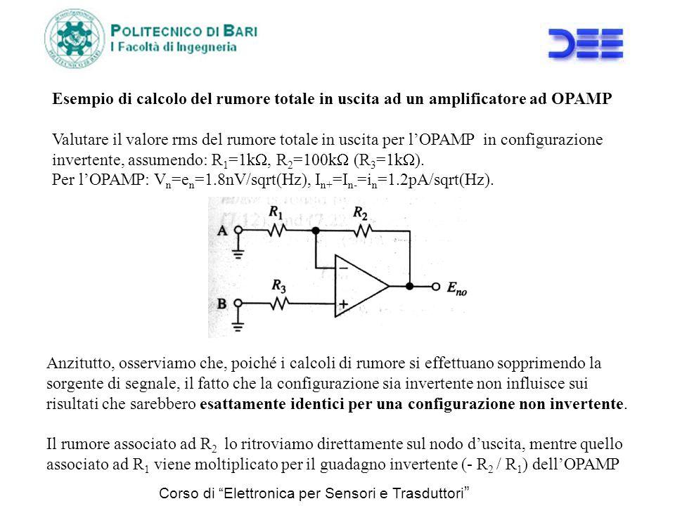 Corso di Elettronica per Sensori e Trasduttori Esempio di calcolo del rumore totale in uscita ad un amplificatore ad OPAMP Valutare il valore rms del