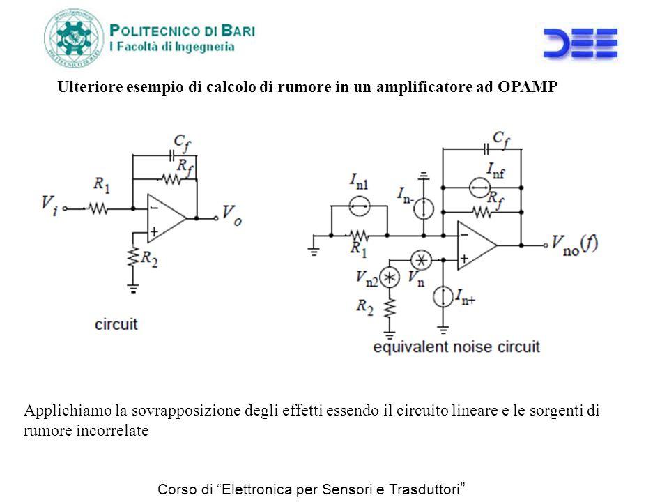 Corso di Elettronica per Sensori e Trasduttori Ulteriore esempio di calcolo di rumore in un amplificatore ad OPAMP Applichiamo la sovrapposizione degl