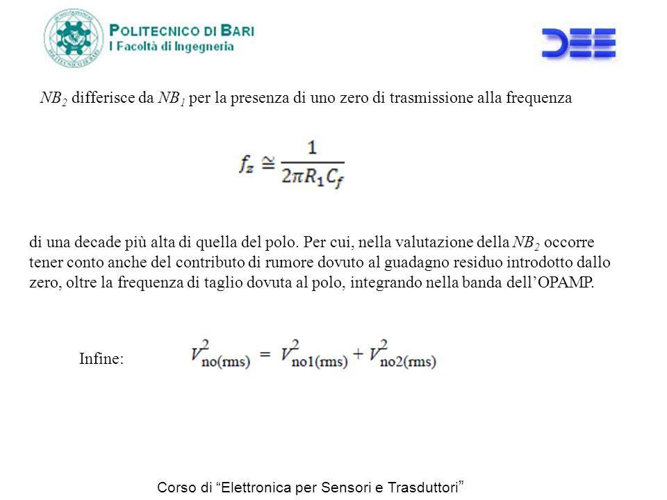 NB 2 differisce da NB 1 per la presenza di uno zero di trasmissione alla frequenza di una decade più alta di quella del polo. Per cui, nella valutazio
