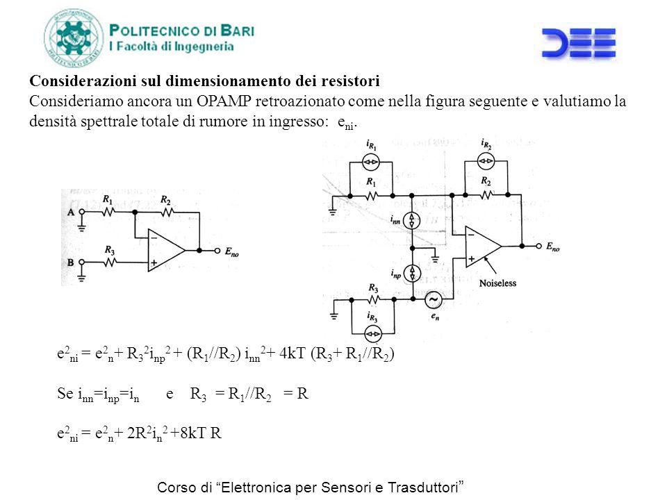 Corso di Elettronica per Sensori e Trasduttori Considerazioni sul dimensionamento dei resistori Consideriamo ancora un OPAMP retroazionato come nella