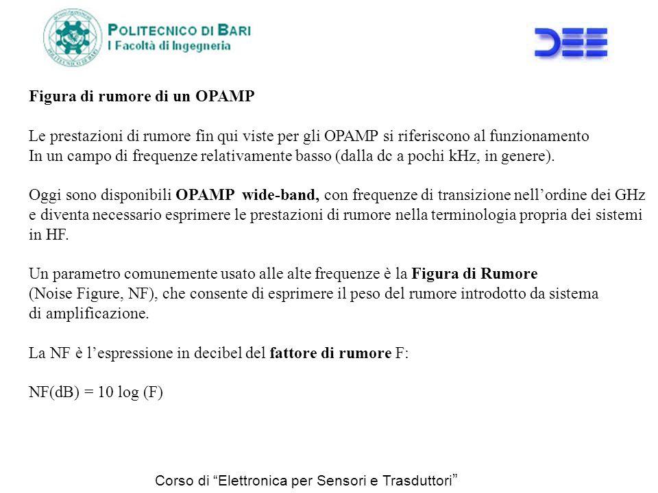 Corso di Elettronica per Sensori e Trasduttori Figura di rumore di un OPAMP Le prestazioni di rumore fin qui viste per gli OPAMP si riferiscono al fun