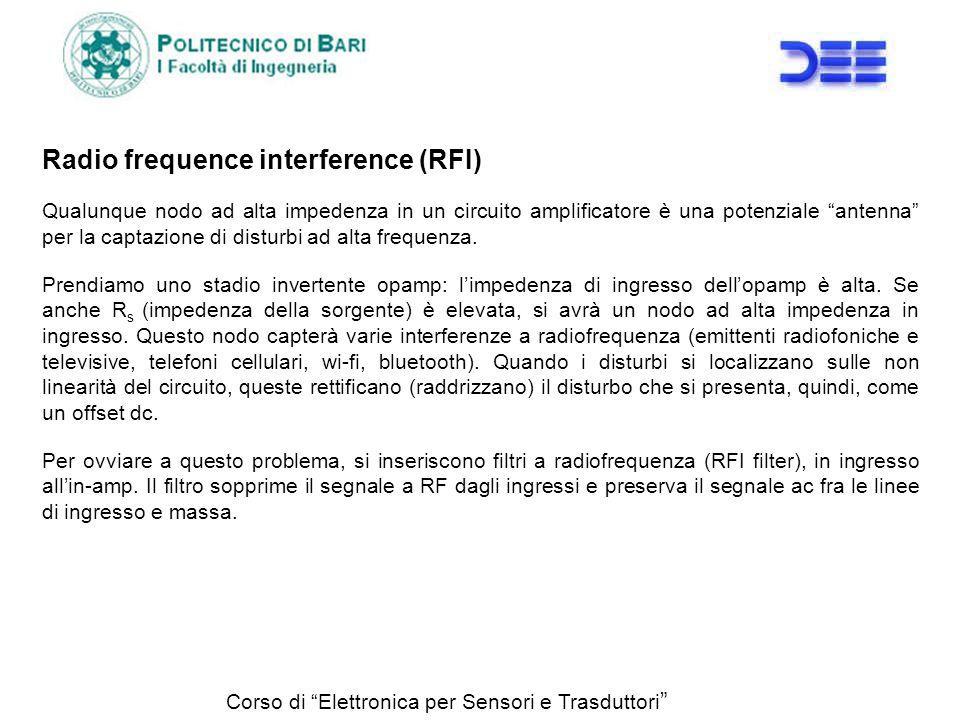 Radio frequence interference (RFI) Qualunque nodo ad alta impedenza in un circuito amplificatore è una potenziale antenna per la captazione di disturb