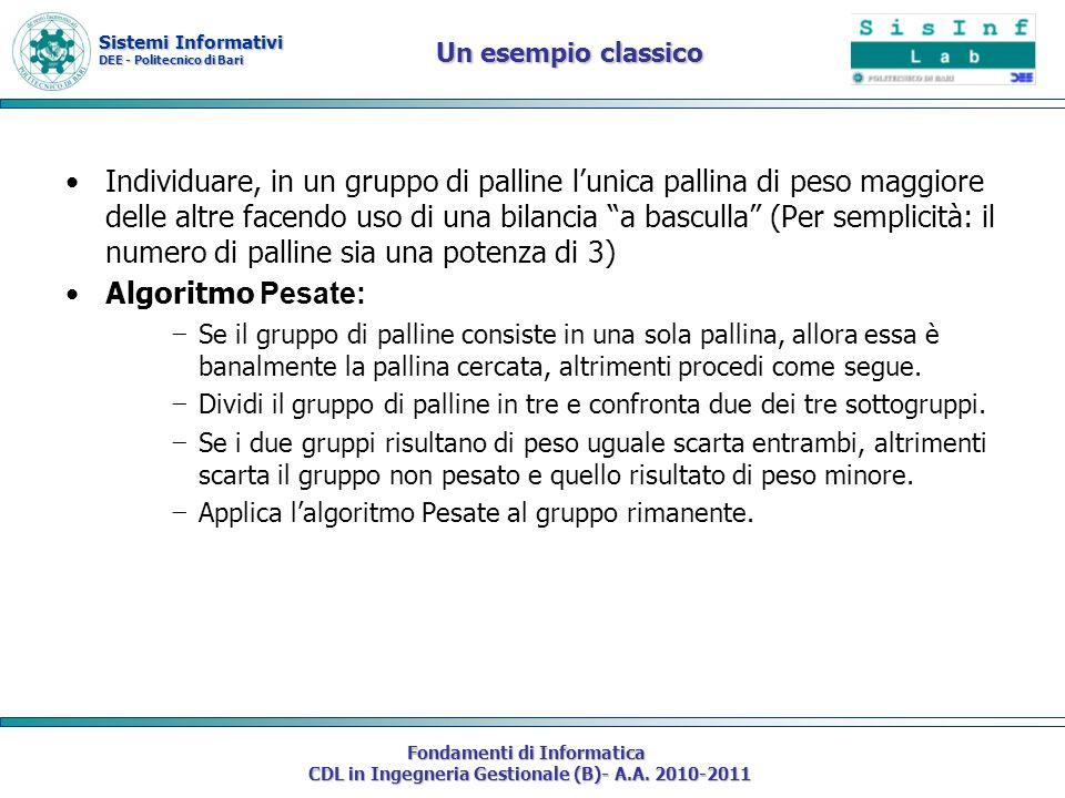 Sistemi Informativi DEE - Politecnico di Bari Fondamenti di Informatica CDL in Ingegneria Gestionale (B)- A.A. 2010-2011 Un esempio classico Individua