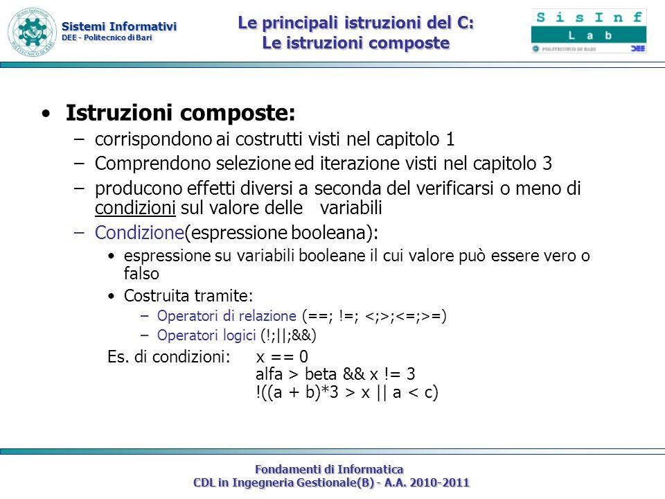 Sistemi Informativi DEE - Politecnico di Bari Fondamenti di Informatica CDL in Ingegneria Gestionale(B) - A.A. 2010-2011 Le principali istruzioni del