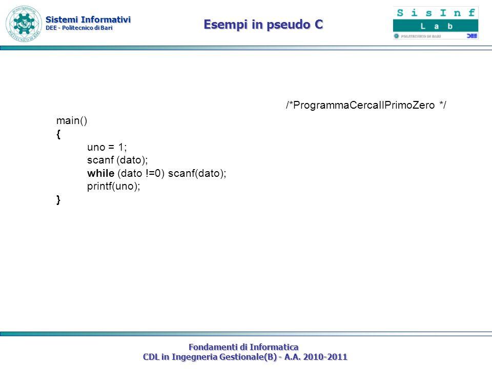 Sistemi Informativi DEE - Politecnico di Bari Fondamenti di Informatica CDL in Ingegneria Gestionale(B) - A.A. 2010-2011 /*ProgrammaCercaIlPrimoZero *