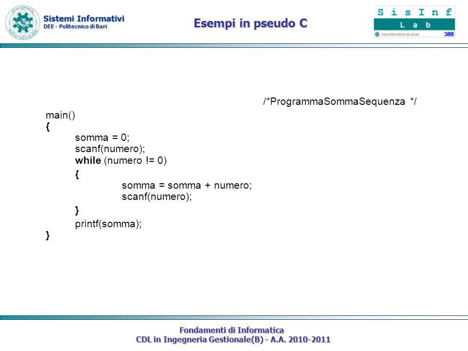 Sistemi Informativi DEE - Politecnico di Bari Fondamenti di Informatica CDL in Ingegneria Gestionale(B) - A.A. 2010-2011 /*ProgrammaSommaSequenza */ m