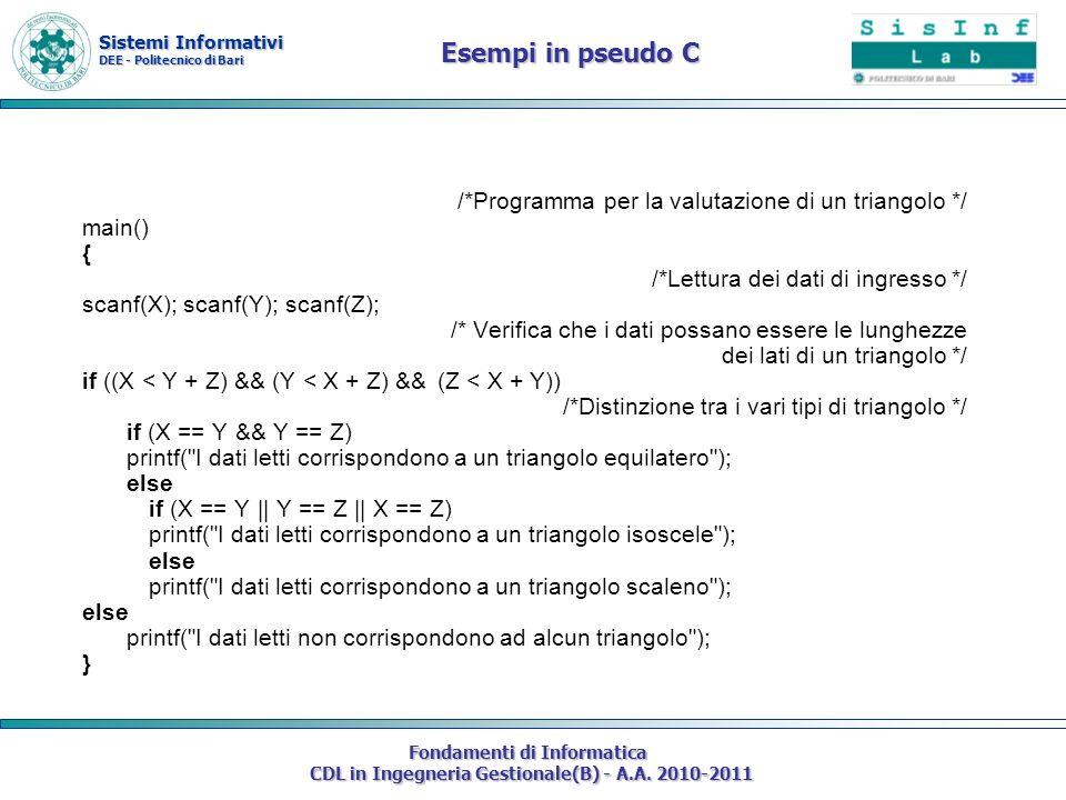 Sistemi Informativi DEE - Politecnico di Bari Fondamenti di Informatica CDL in Ingegneria Gestionale(B) - A.A. 2010-2011 /*Programma per la valutazion