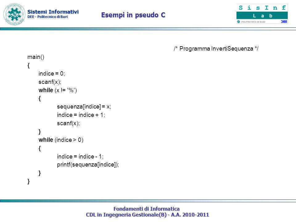 Sistemi Informativi DEE - Politecnico di Bari Fondamenti di Informatica CDL in Ingegneria Gestionale(B) - A.A. 2010-2011 /* Programma InvertiSequenza