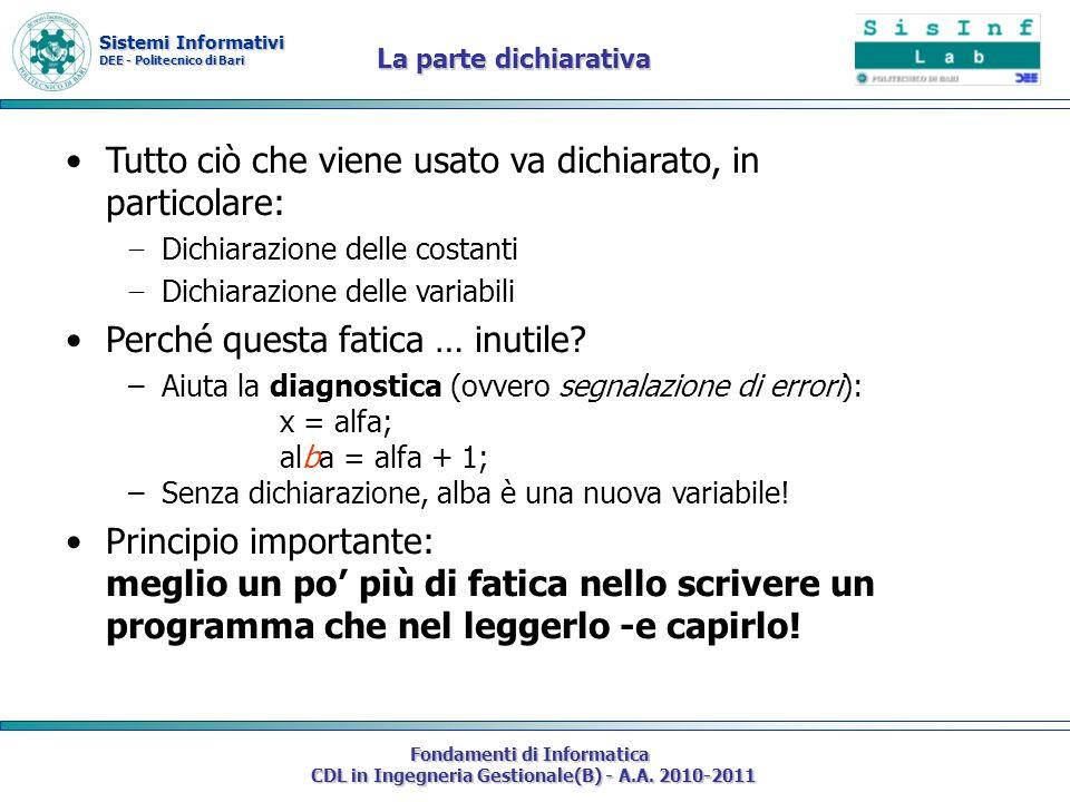 Sistemi Informativi DEE - Politecnico di Bari Fondamenti di Informatica CDL in Ingegneria Gestionale(B) - A.A. 2010-2011 Tutto ciò che viene usato va
