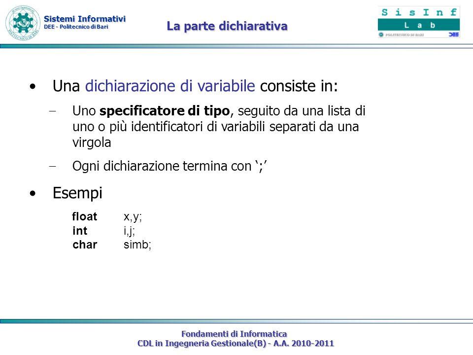Sistemi Informativi DEE - Politecnico di Bari Fondamenti di Informatica CDL in Ingegneria Gestionale(B) - A.A. 2010-2011 Una dichiarazione di variabil