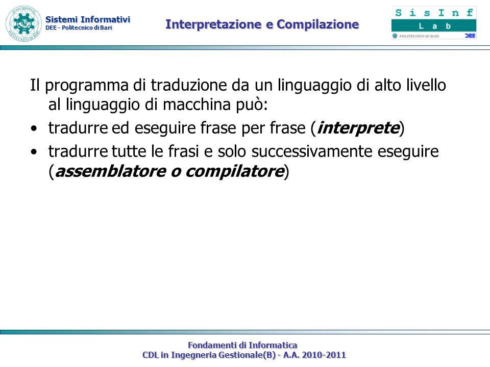 Sistemi Informativi DEE - Politecnico di Bari Fondamenti di Informatica CDL in Ingegneria Gestionale(B) - A.A. 2010-2011 Interpretazione e Compilazion